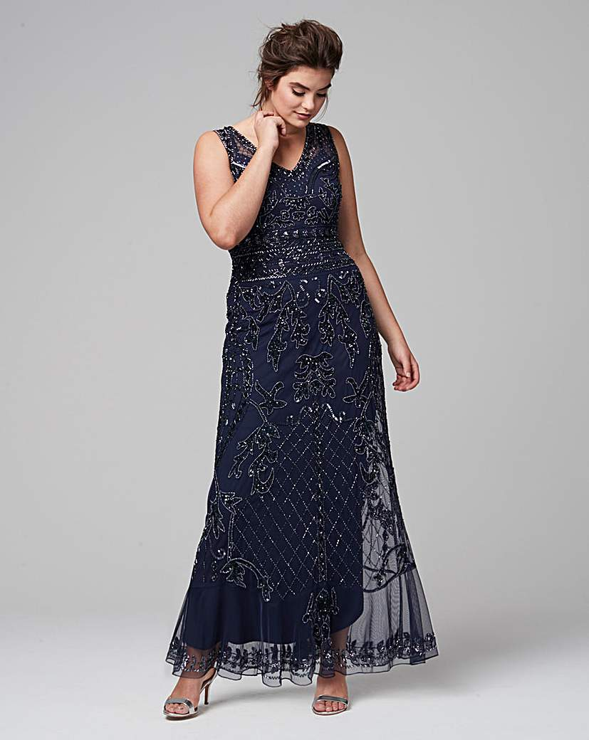 Plus Size Retro Dresses Joanna Hope Embellished Maxi Dress £165.00 AT vintagedancer.com