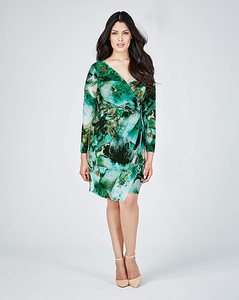 Image of Closet Print Wrap Dress
