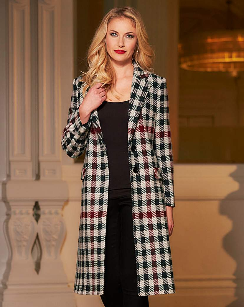 Shop 1960s Style Coats and Jackets Helene Berman Plaid Longline Coat £63.00 AT vintagedancer.com