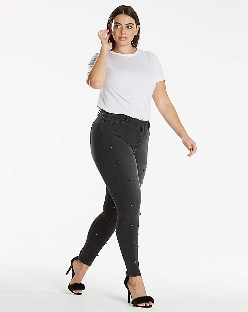 Chloe Metallic Pearl Studded Jeans