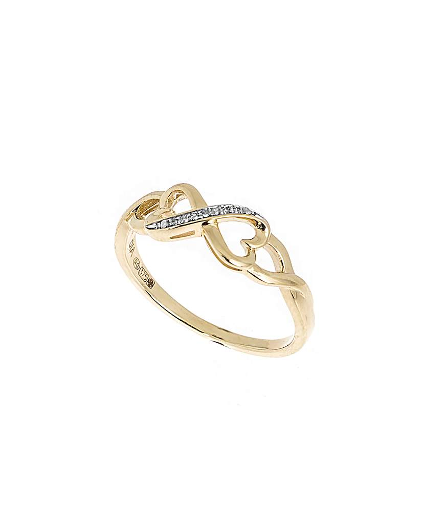 9ct Gold Diamond Infinity Heart Ring
