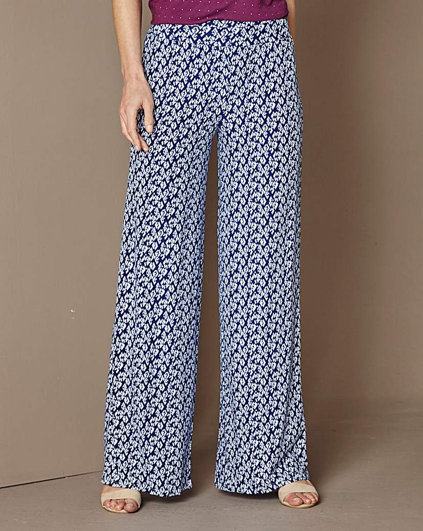 Image of Print Wide Leg Jersey Trousers 27in