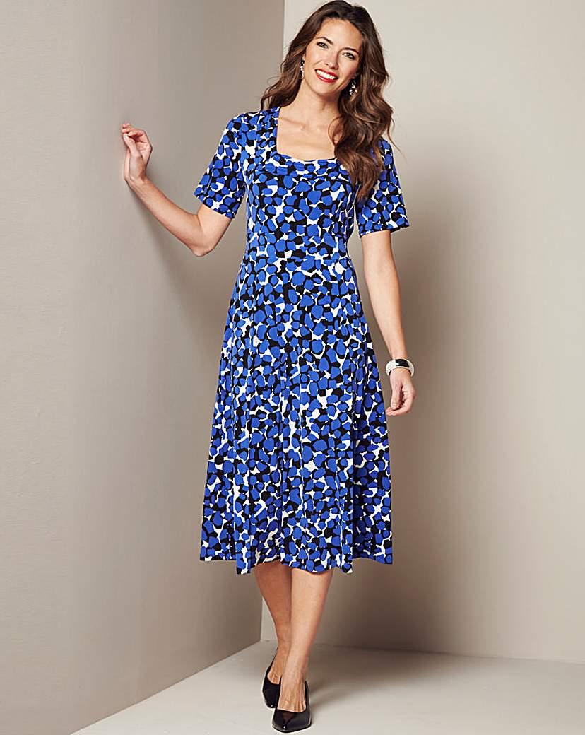 Square Neck Print Dress £39.00 AT vintagedancer.com