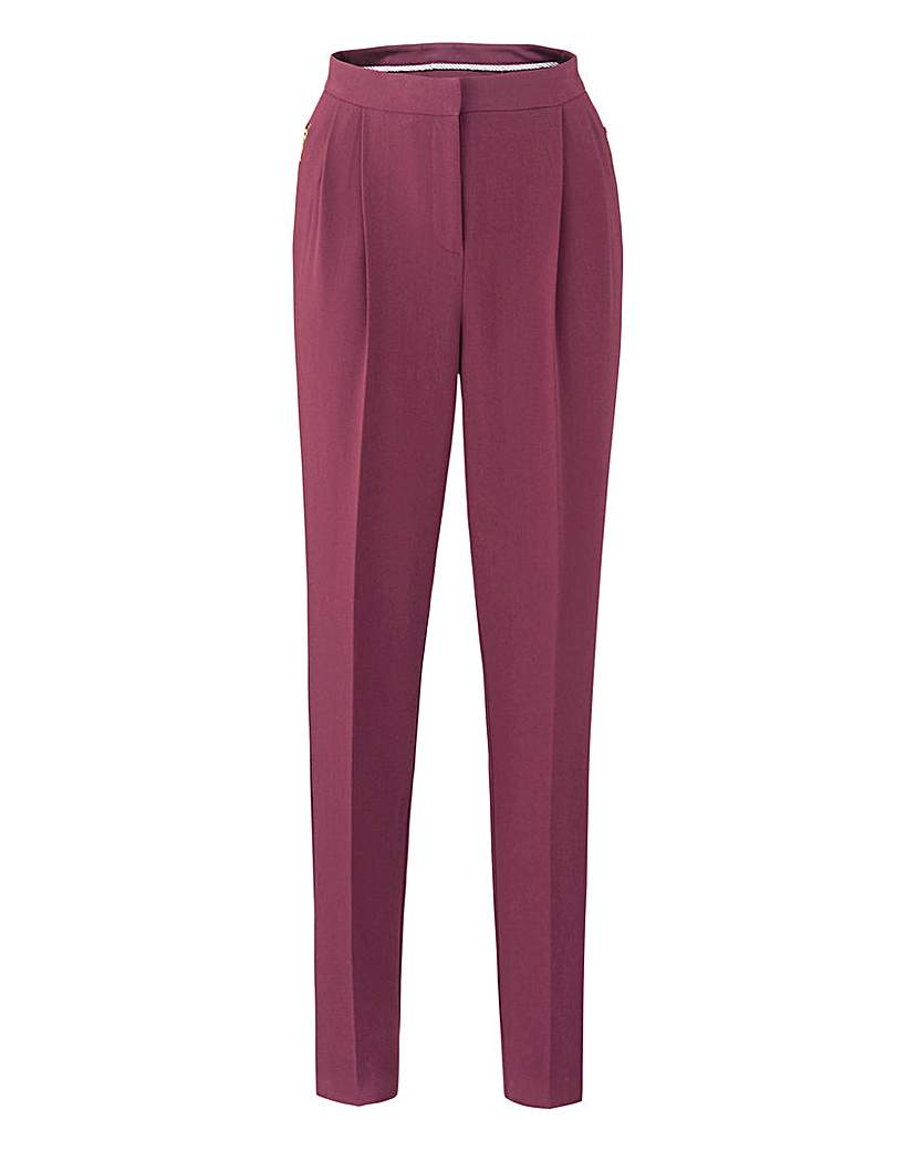 Crepe Peg Zip Stretch Trousers - Short