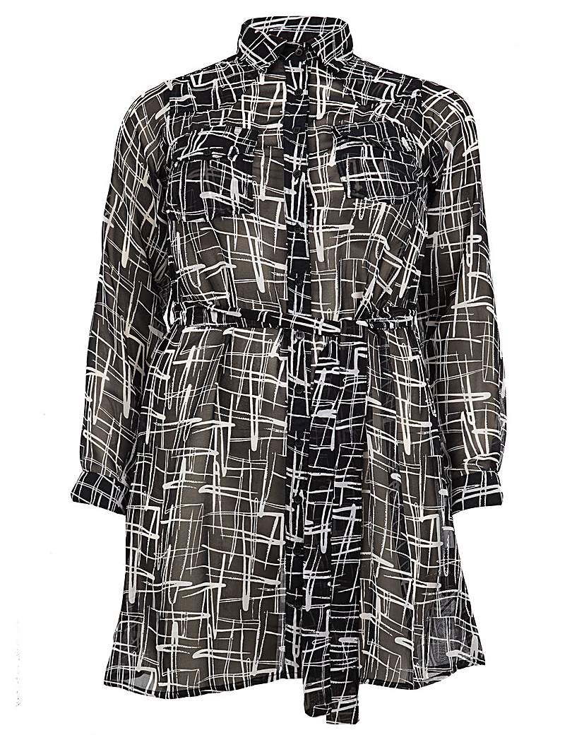 Koko Aztec Print Belted Shirt Dress