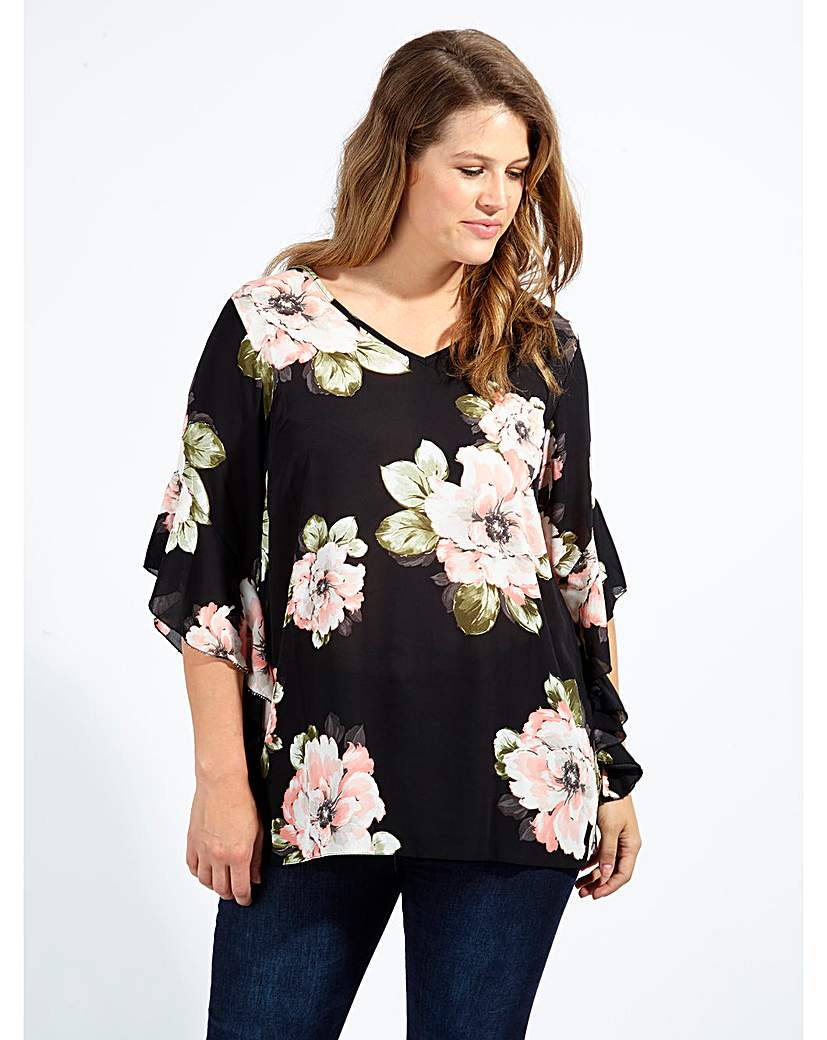 Image of Lovedrobe GB Rose Print Tie Back Blouse