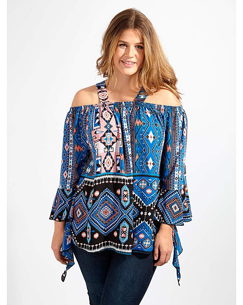 Image of Lovedrobe GB Blue Aztec Print Blouse