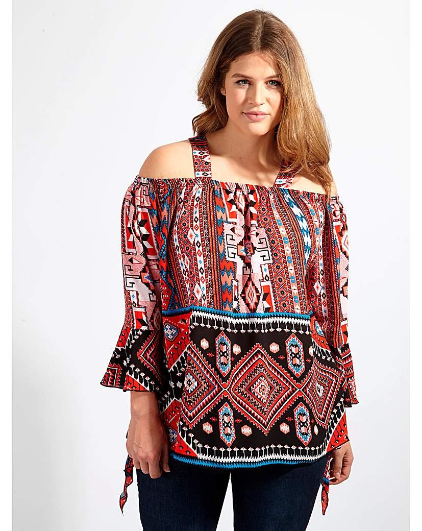 Image of Lovedrobe GB Aztec Print Bardot Blouse