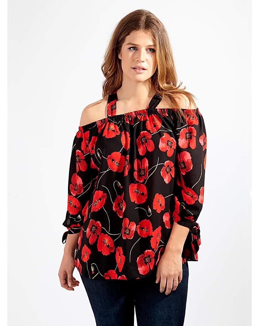 Image of Lovedrobe GB Black Poppy Print Blouse