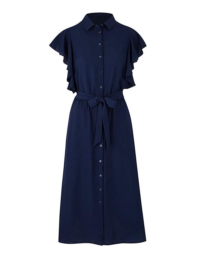 1930s Style Day Dresses Ruffle Shirt Dress £35.00 AT vintagedancer.com