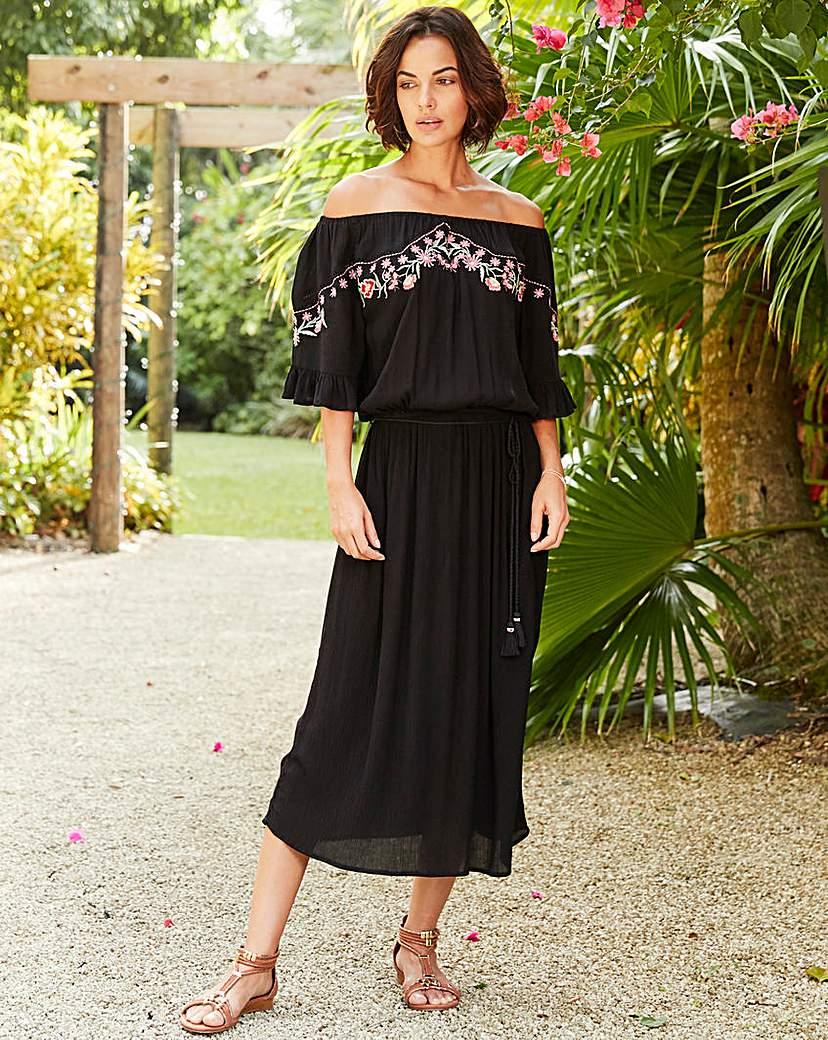 Black/Pink Embroidered Dress.