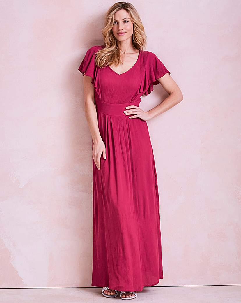 1930s Style Day Dresses Cherry Pink Frill Crinkle Maxi Dress £35.00 AT vintagedancer.com