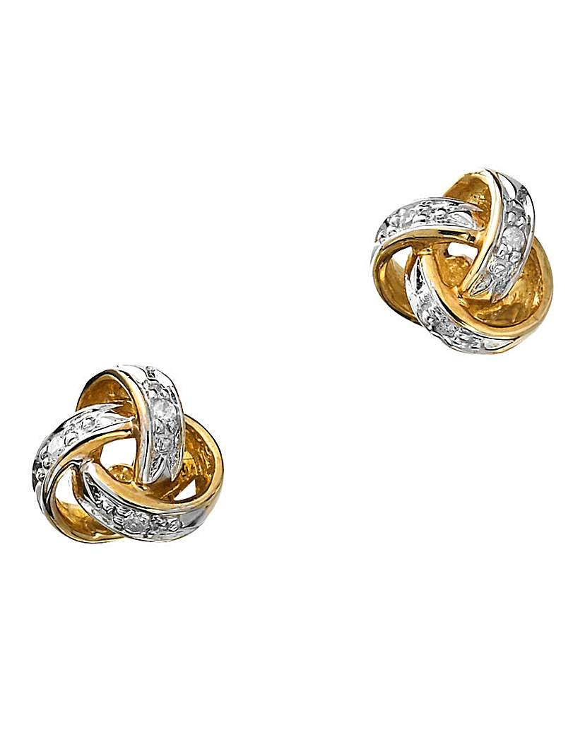 Image of 9 Carat Gold Diamond Knot Earrings