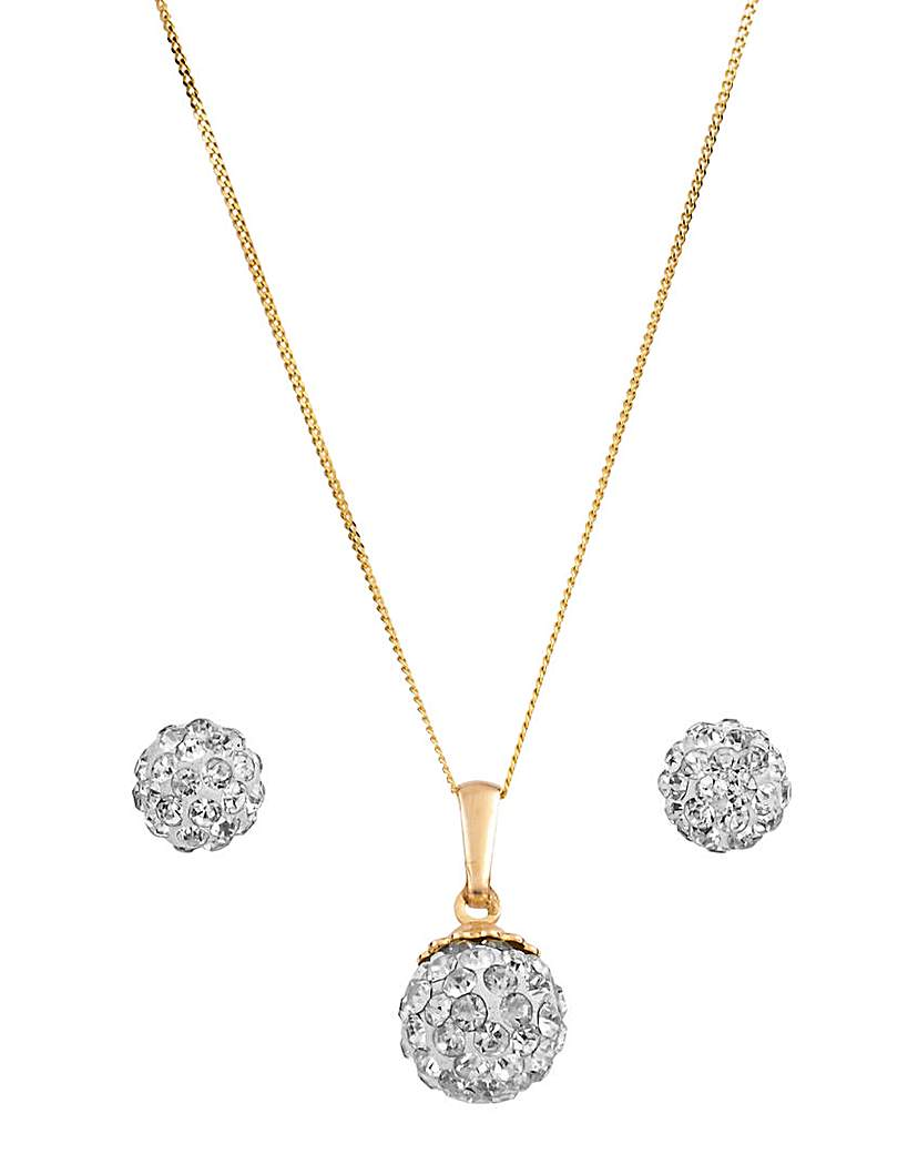 Crystal Glitz 9ct Pendant & Earrings