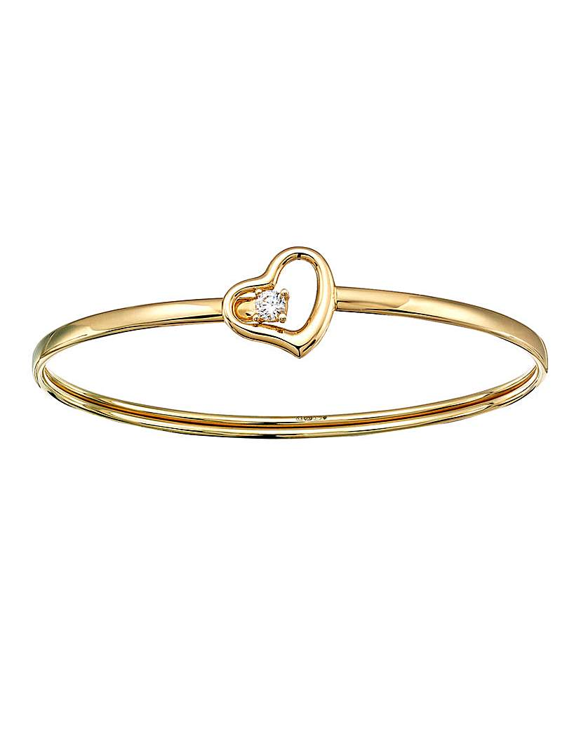 9 Carat Gold Cubic Zirconia Heart Bangle
