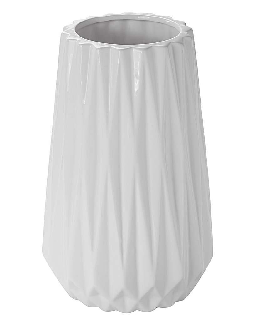 JHL Large White Ceramic Vase 26cm
