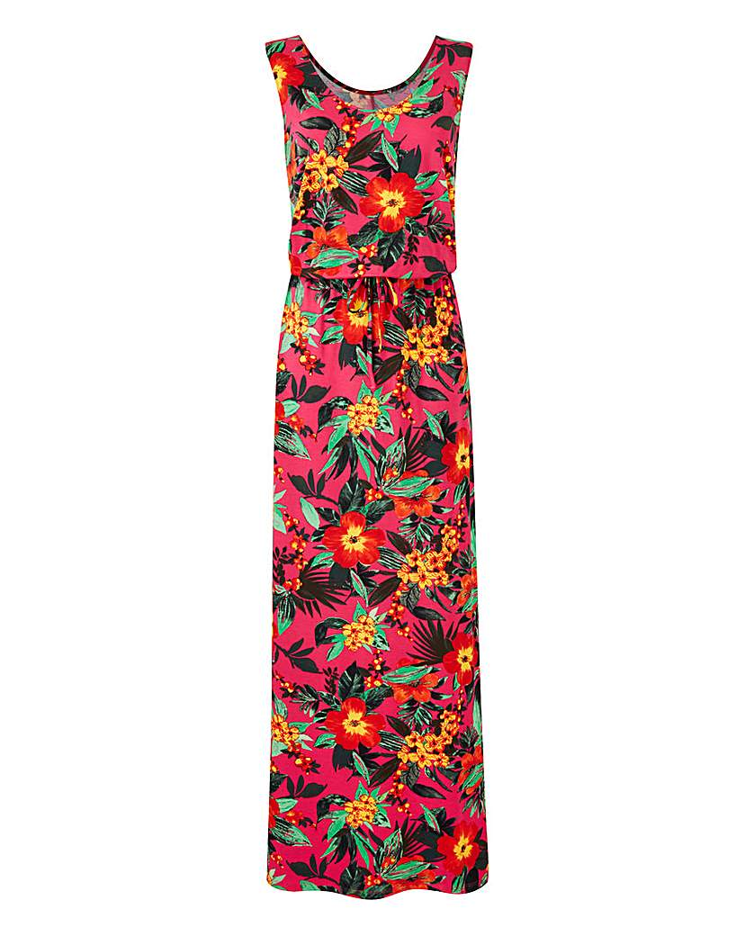 Pink Tropical Print Maxi Dress