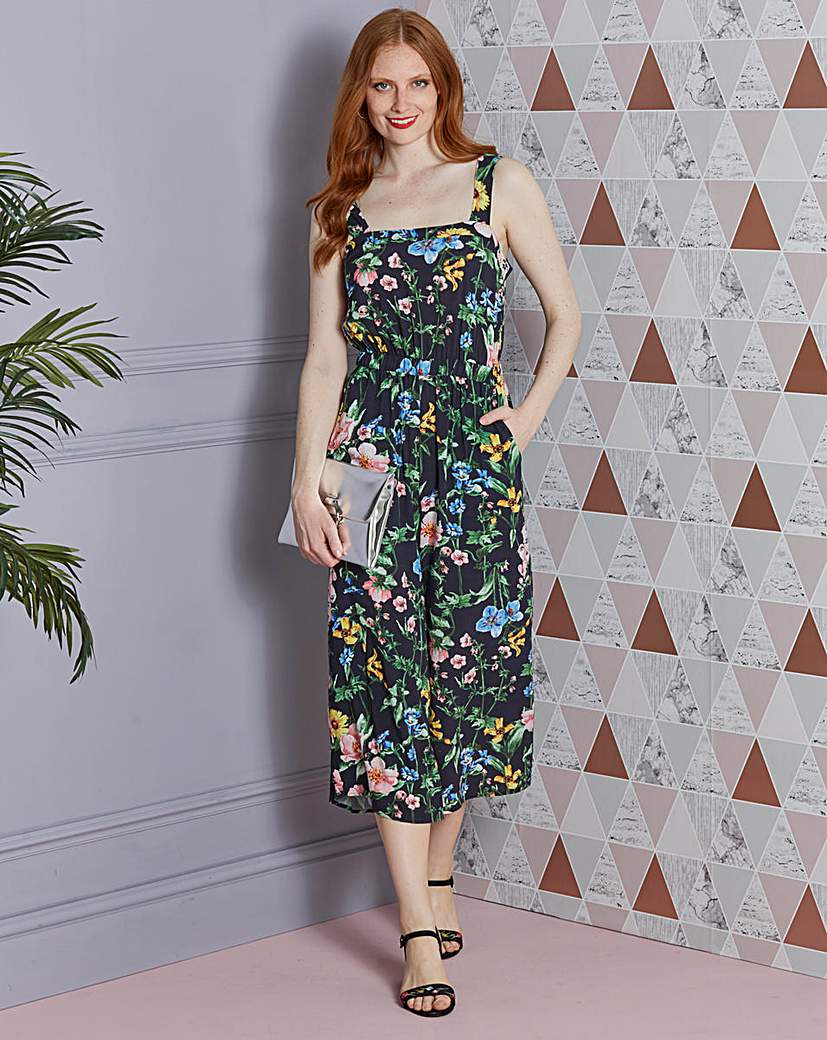 Image of Printed Culotte Jumpsuit