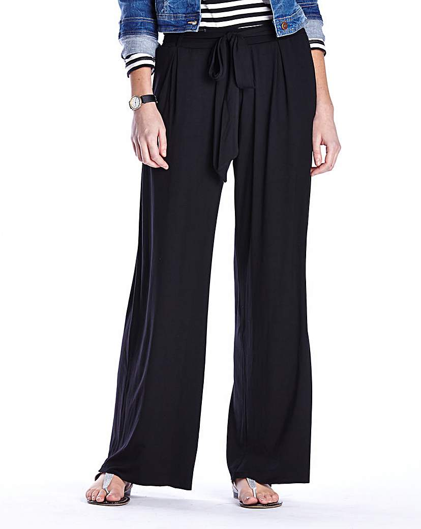 Image of Plain Jersey Wide Leg Trousers Short