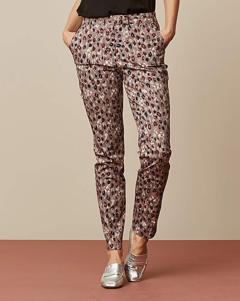 Image of Printed Cotton Sateen Trousers Regular