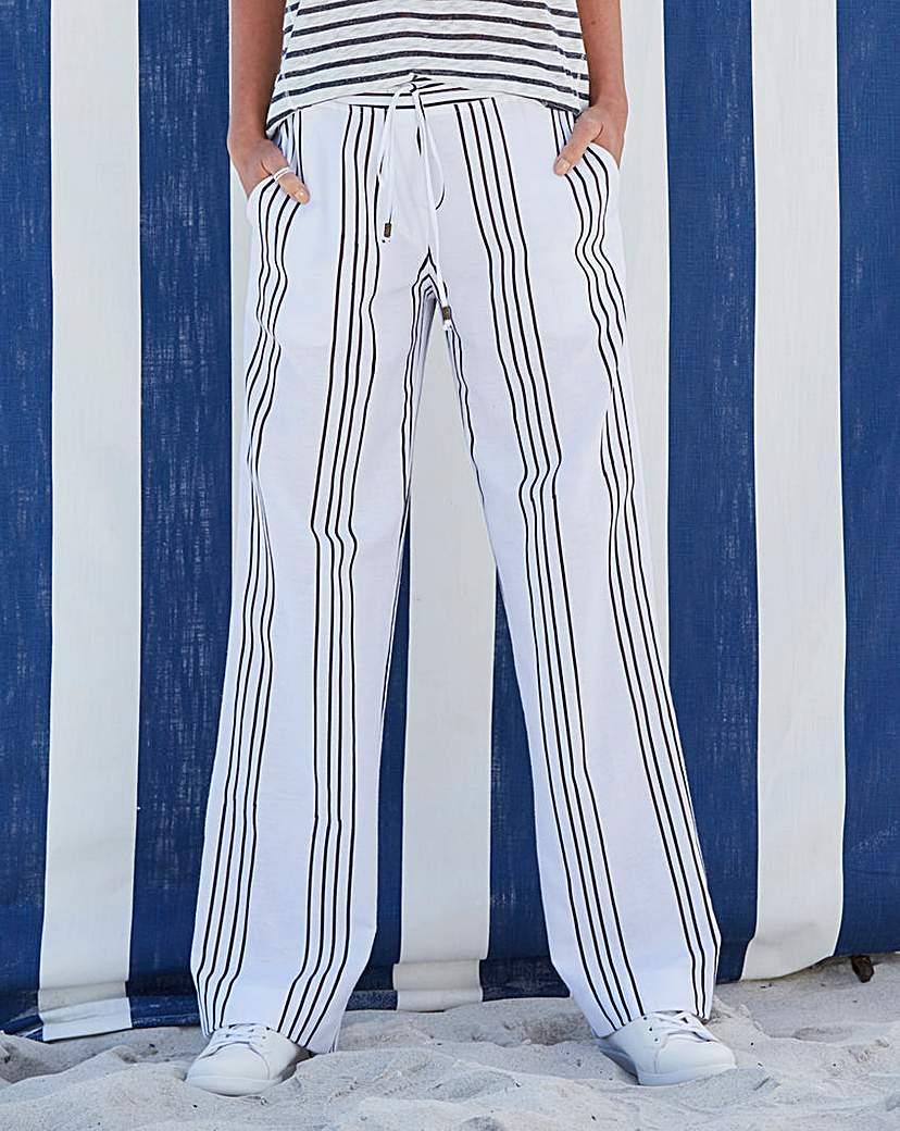 Image of Stripe Linen Mix Straight Trousers Reg