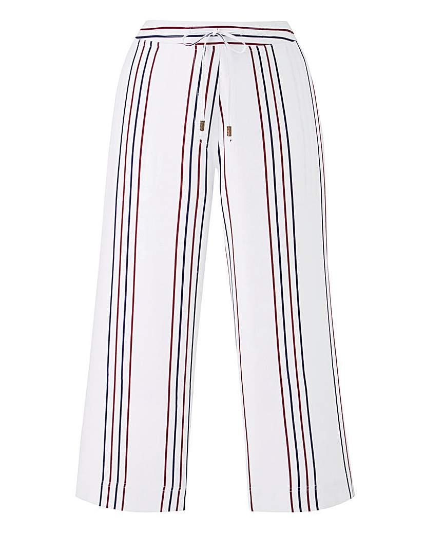 Image of Stripe Linen Mix Crop Trousers