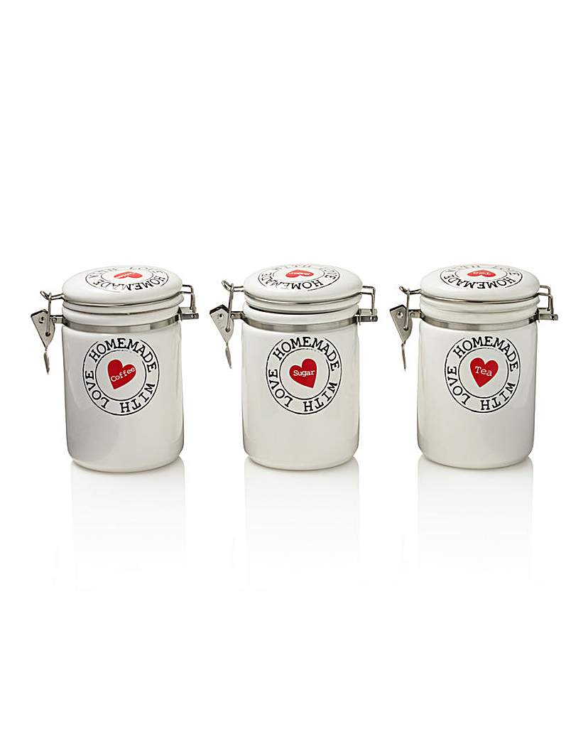 Image of Homemade with Love Set of 3 Canisters
