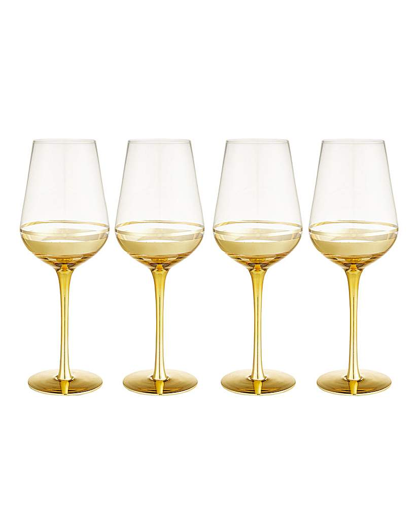 Gold Double Band Wine Glasses Set of 4.
