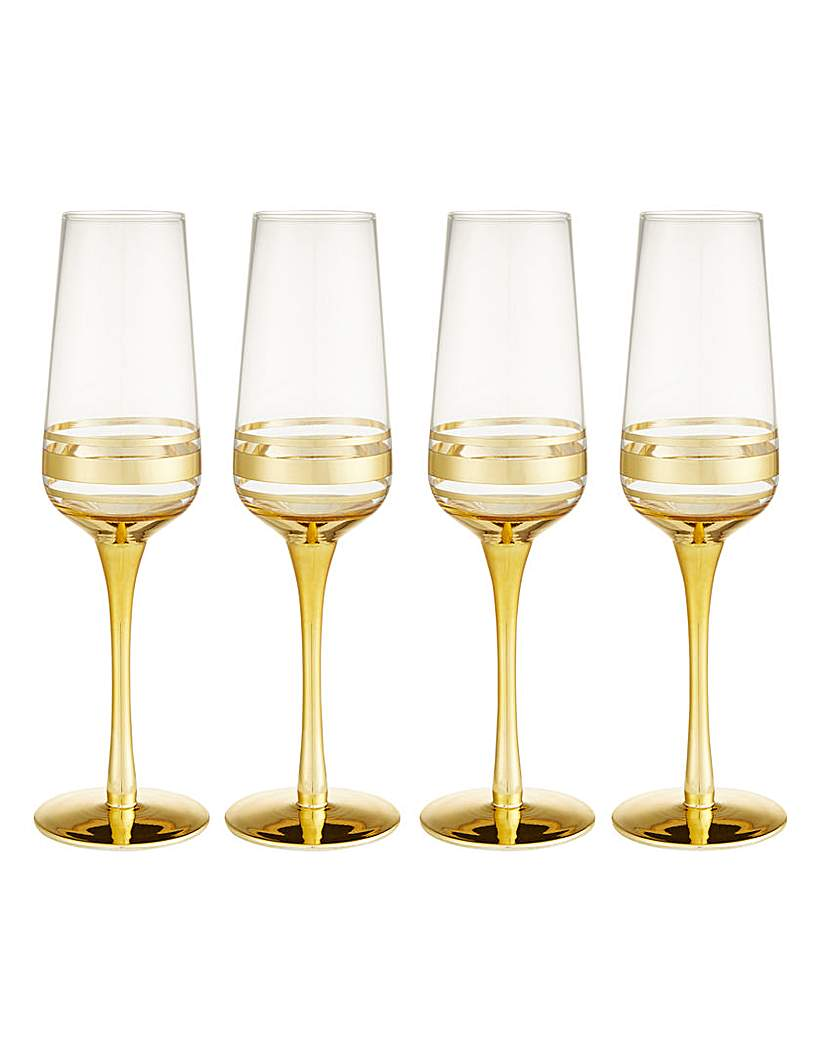 Gold Double Band Champagne Flutes Set 4