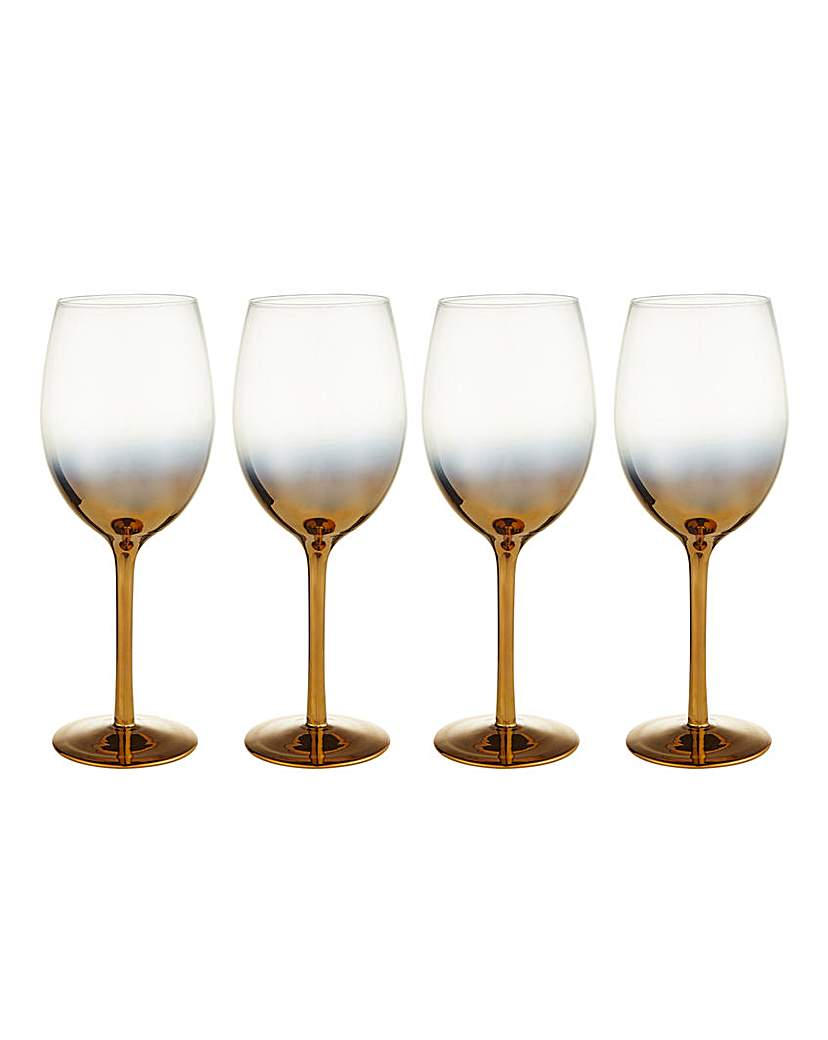 Gold Ombre Wine Glasses Set of 4