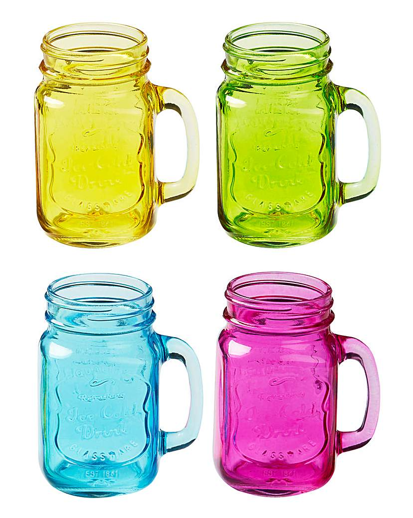 Jam Jar Handled Glasses Set of 4