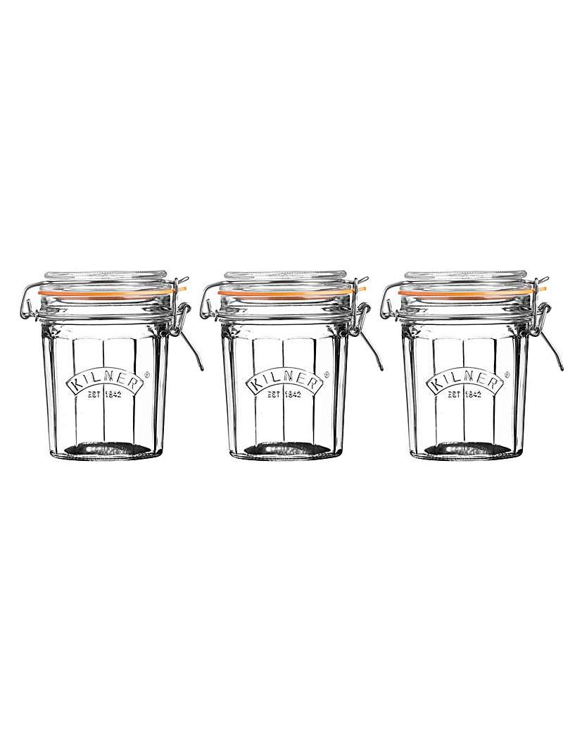 Image of Set 3 Kilner Facet Jars 0.45 Litre