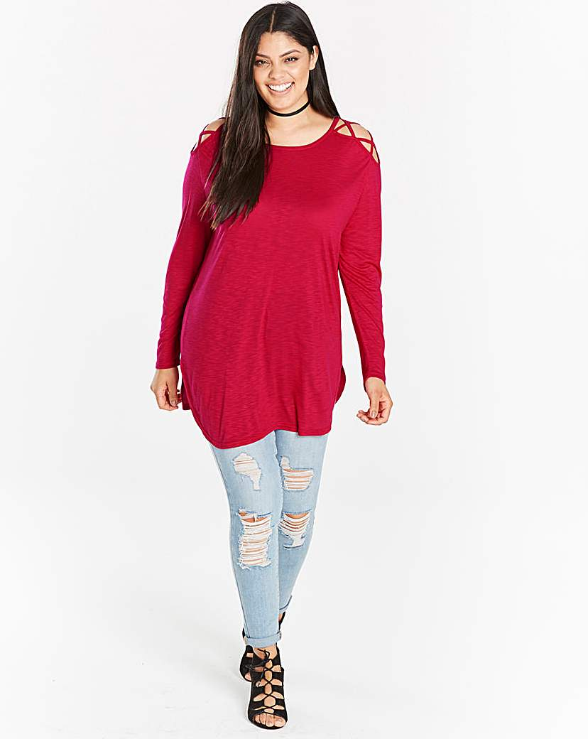 Image of Hot Pink Strappy Cold Shoulder Tunic