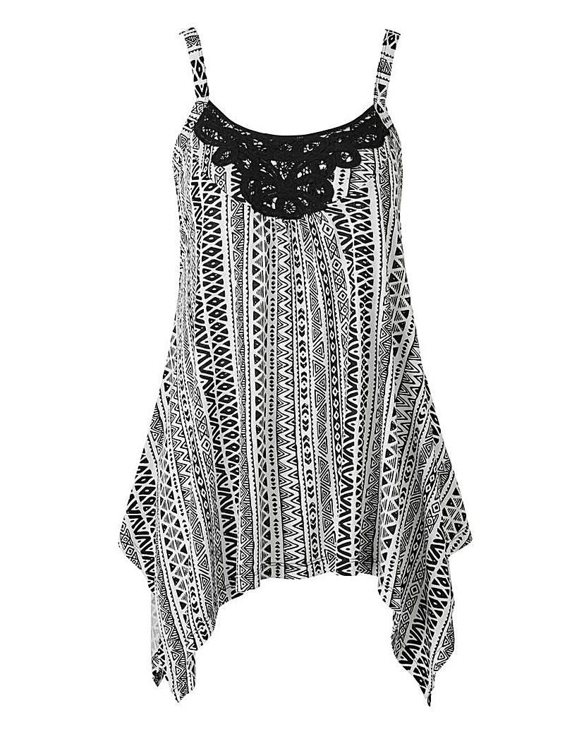 Image of Black Aztec Asymmetric Lace Trim Vest
