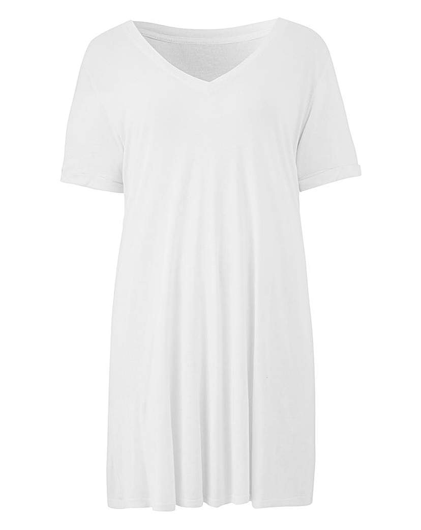 White V Neck Viscose Tshirt