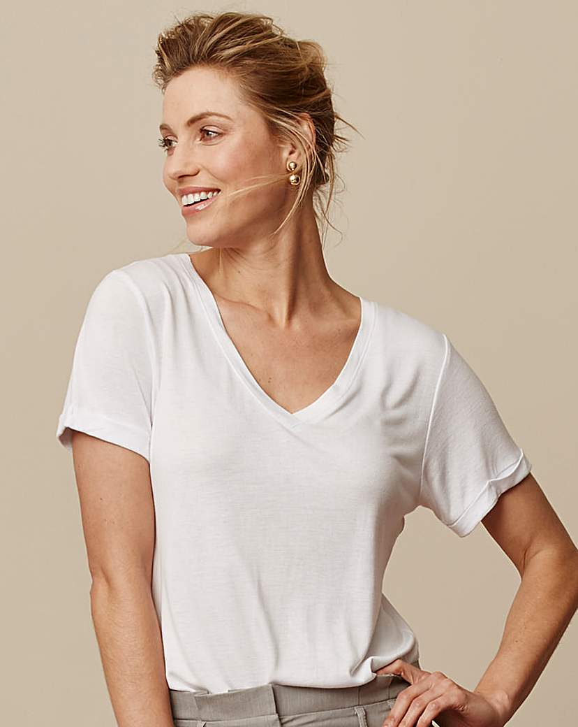 White V Neck Viscose Tshirt