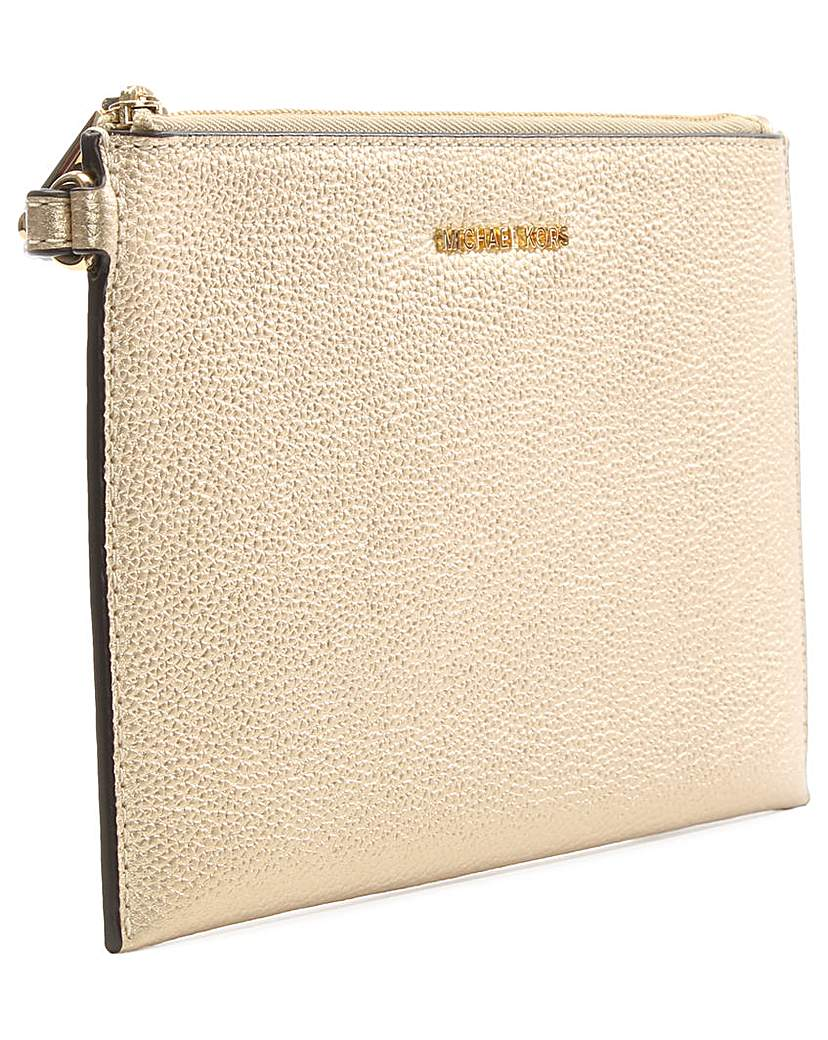 Michael Kors Gold Leather Clutch Bag