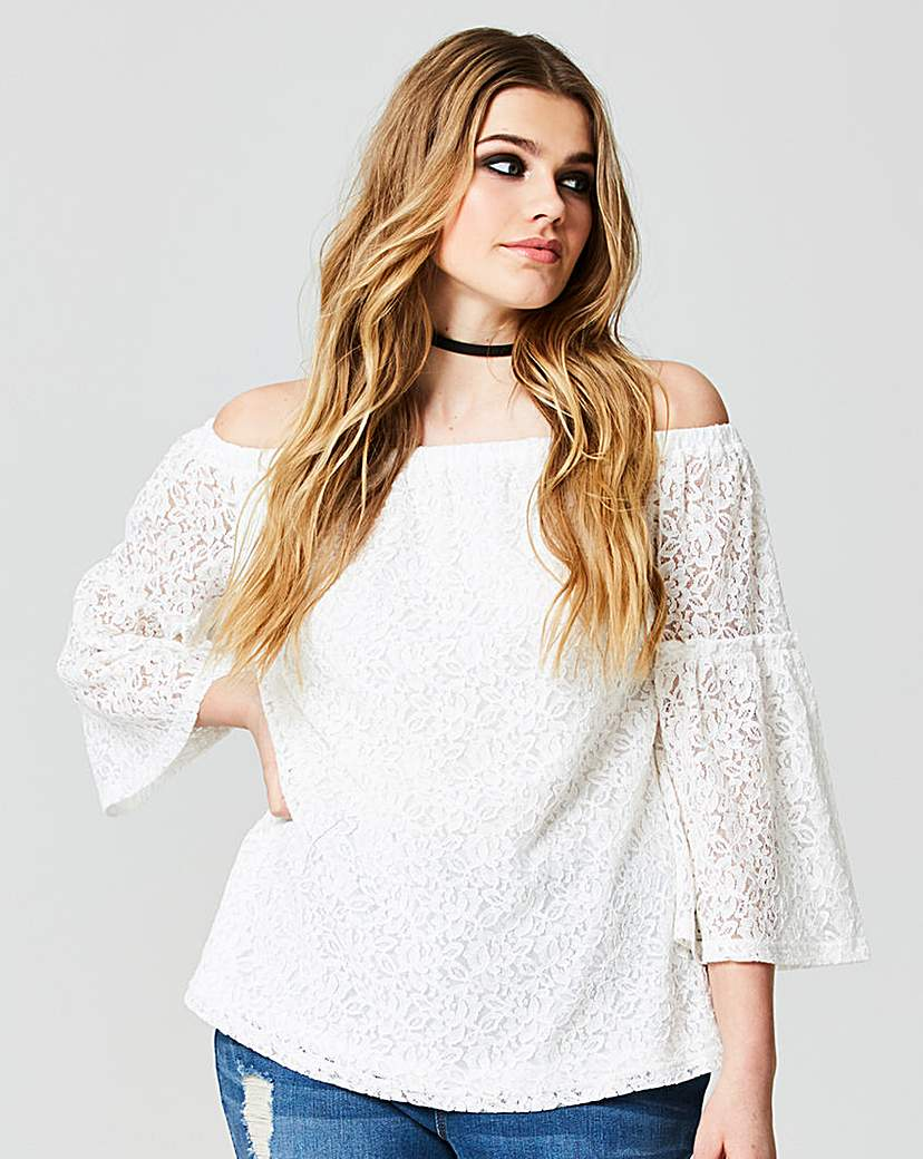 Simply Be Lace Fluted Sleeve Bardot