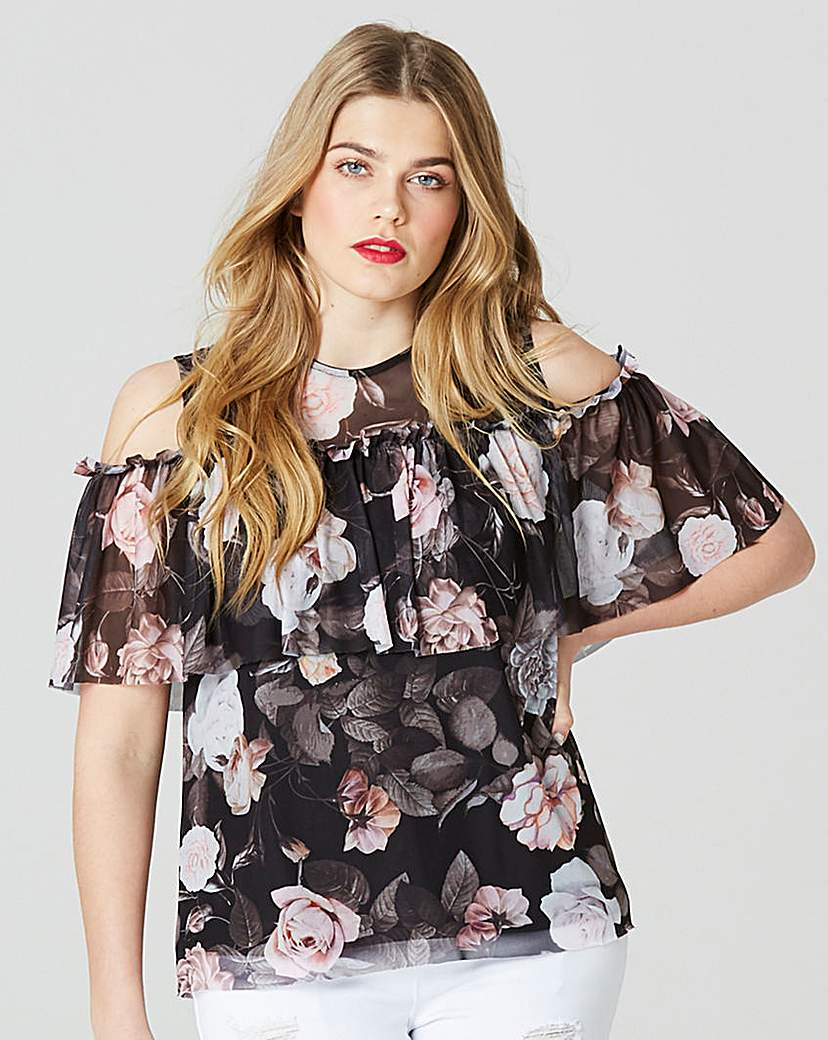 Simply Be Print Mesh Cold Shoulder Top.