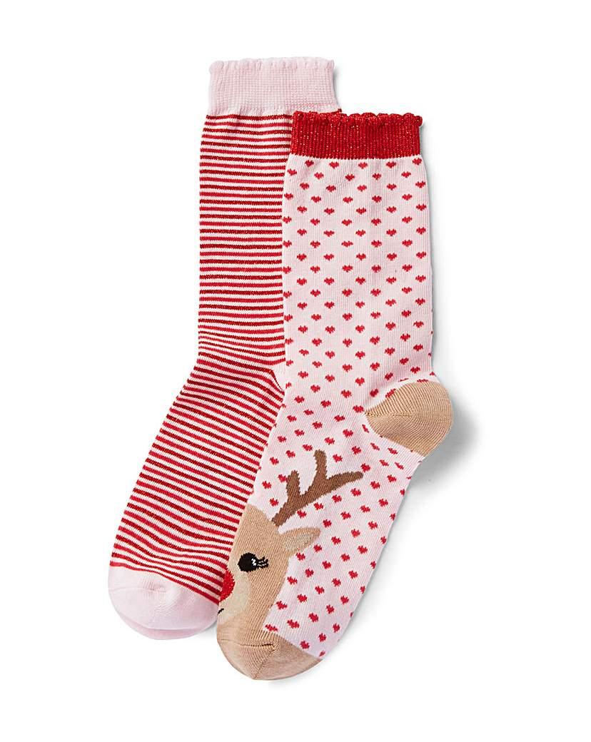 Socks & Hosiery Two Pack Reindeer/Stripe Ankle Socks