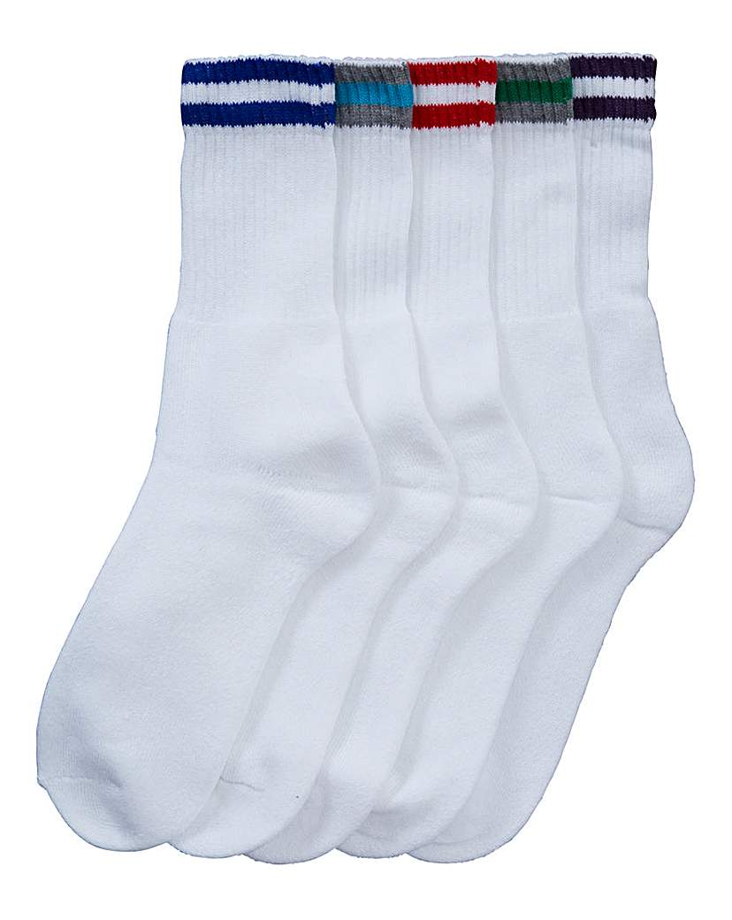 Men's Outerwear Southbay Pack of 5 White Sports Socks