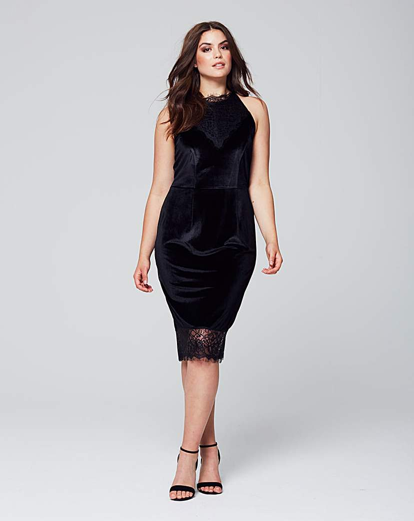 Wolf & Whistle Cut Away Velvet Dress