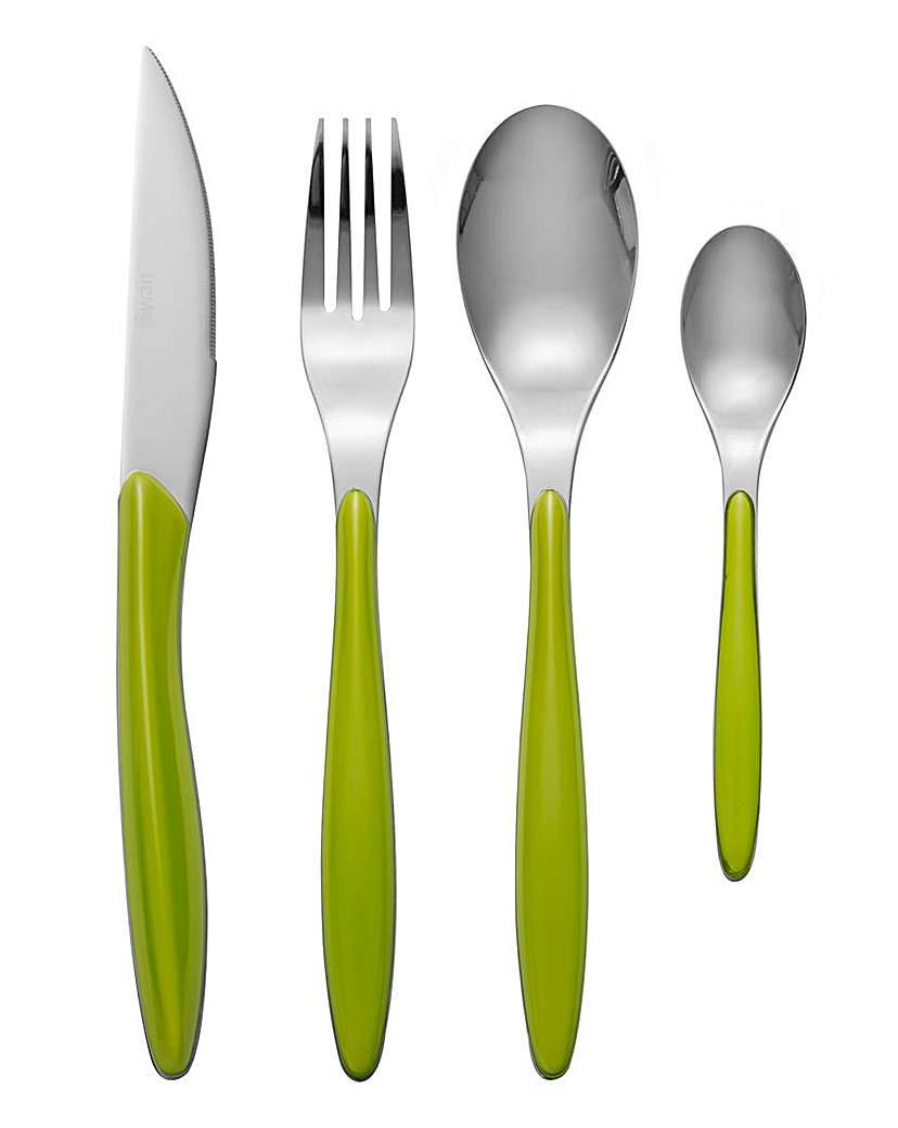 Swan Oslo 24 Piece Cutlery Set Green