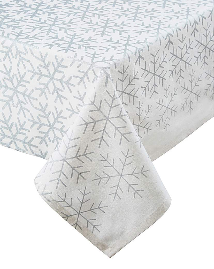 Silver Snowflakes Rectangle Tablecloth