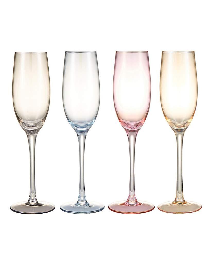 Colour Tint Flute Glasses Set of 4