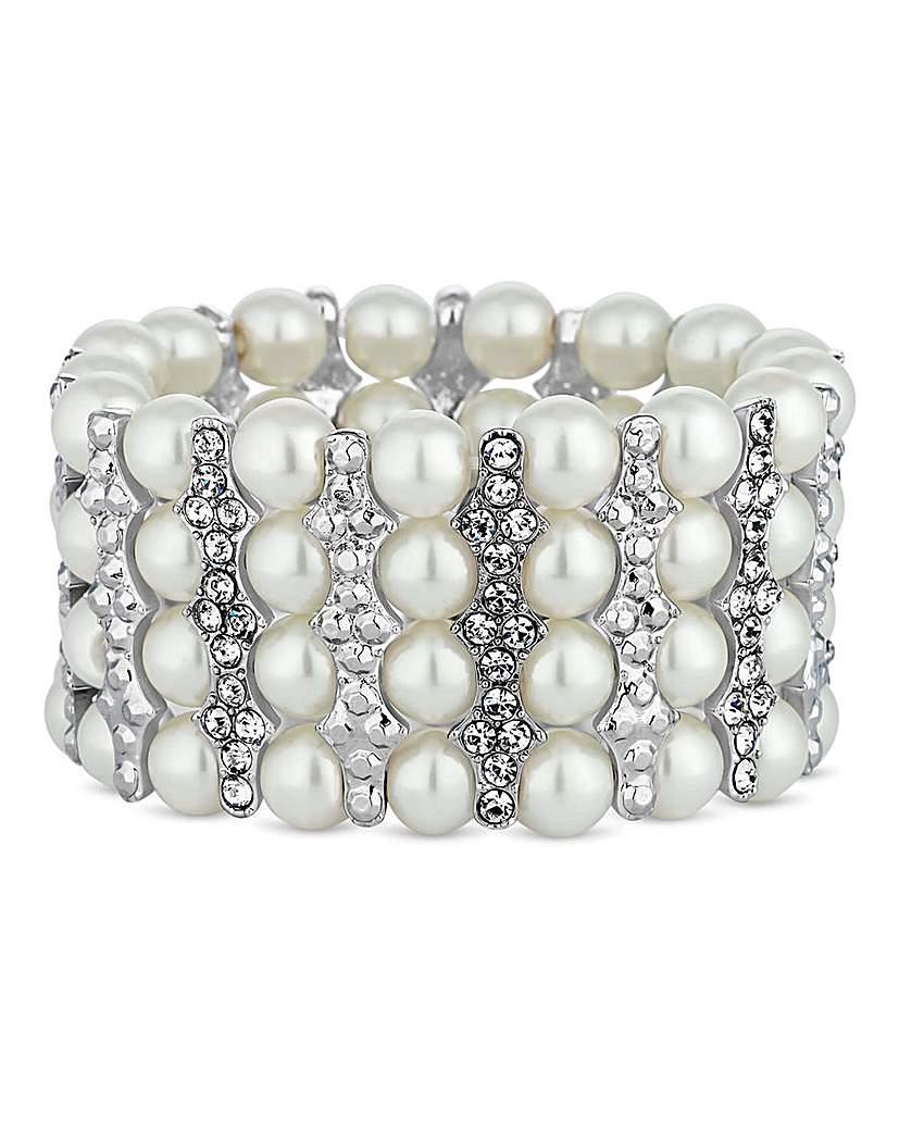 Image of Jon Richard crystal bar pearl bracelet