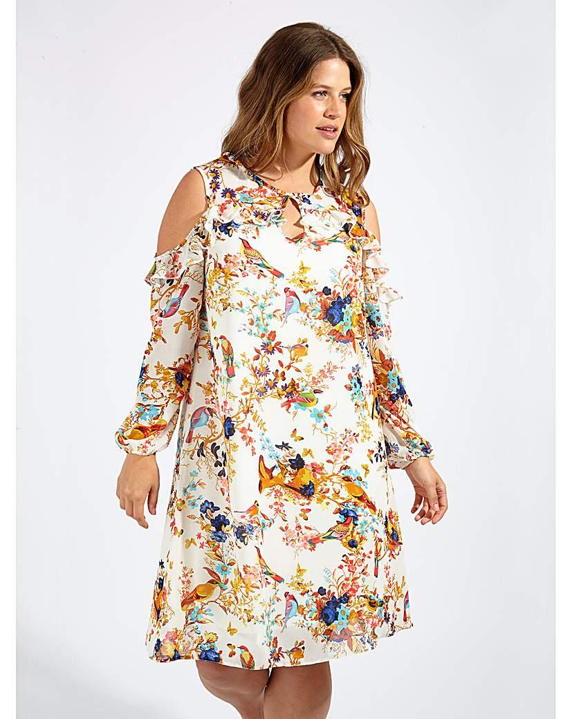 Image of Lovedrobe GB Bird Print Shift Dress
