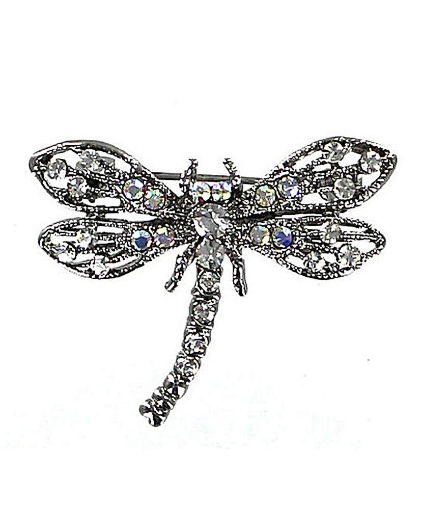Diamante Encrusted Dragonfly Brooch