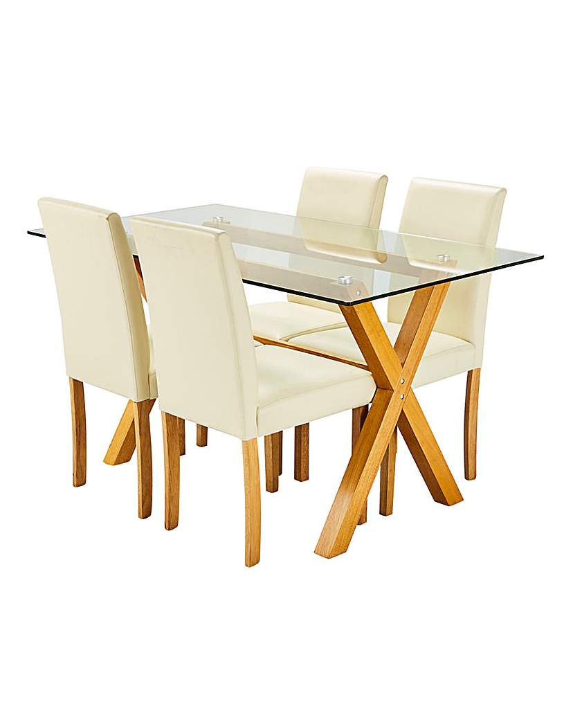 Image of Albany Dining Table 4 Faux Leather Chair