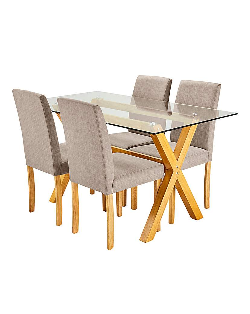 Image of Albany Dining Table 4 Mia Fabric Chairs